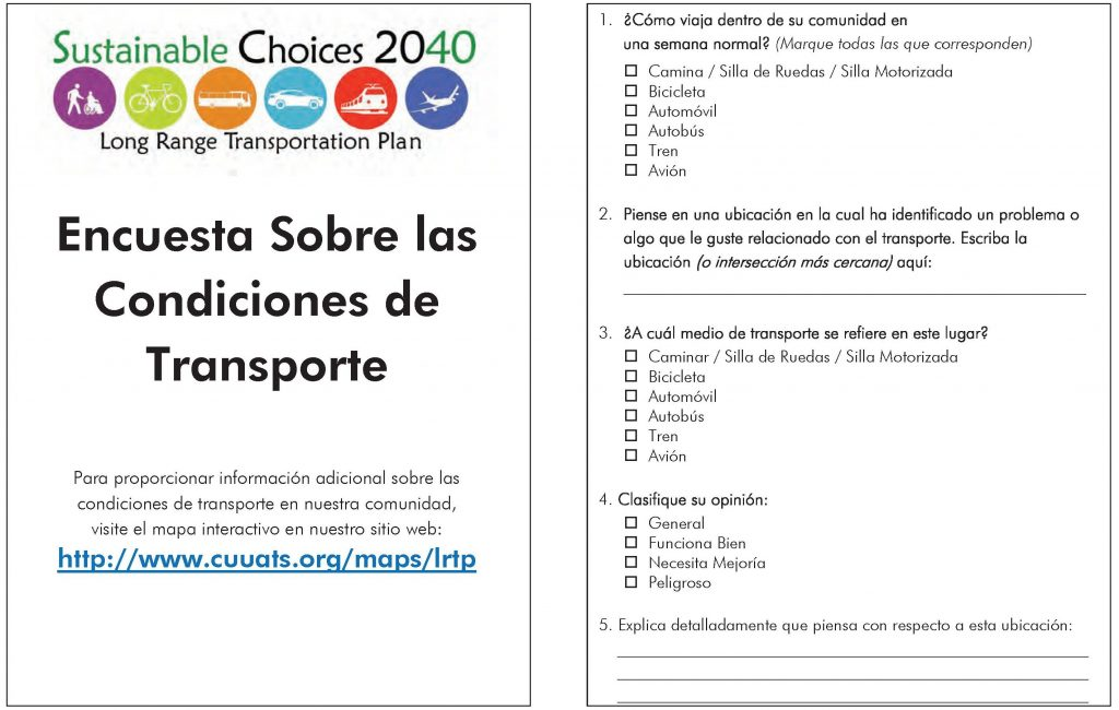 LRTP Survey, Spanish, pages 1 and 2